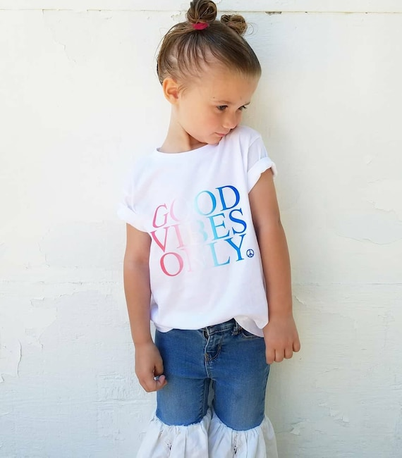 GOOD VIBES ONLY Kid's Tee, Good Vibes Only Tshirt, Red, White and Blue
