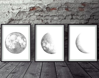 """Set of 3 large moon prints, Moon phases print, Printable moon posters Minimalist Gray Black Moon Art Home Decor 16x20"""" 24x36"""" A2 and A1"""