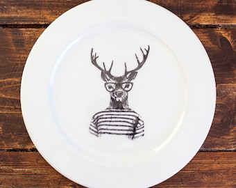 Retro Stag Dinner Plate