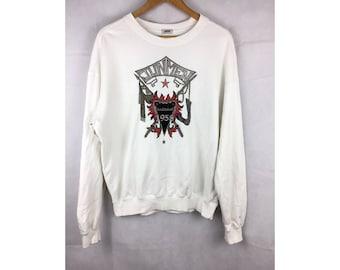 JUNMEN Vintage Sweatshirt Long Sleeve Sweatshirt Pull Over Medium Size with Big Embroidered Logo