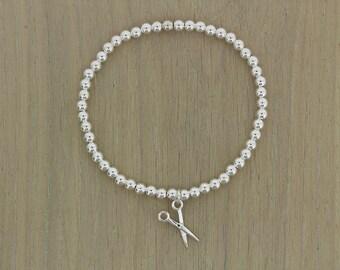 SCISSOR BRACELET/Hairdressers Gift/Scissor Charm Bracelet/Sterling Silver Stretch Bracelet/Hair Stylist Bracelet/Gift For Hairdresser