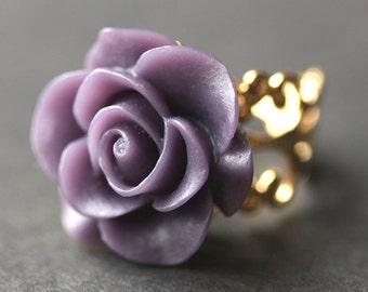 Dunkel lila Rose Ring. Dunkel lila Blumenring. Gold Ring. Silber Ring. Bronze-Ring. Kupferring. Verstellbarer Ring. Handgemachten Schmuck.