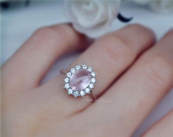 Royal Pink Quartz Ring Natural Pink Stone Engagement Ring 925 Sterling Silver Ring Anniversary Ring Promise Ring