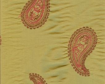 Chartreuse Paisley Fabric - 1 Yard