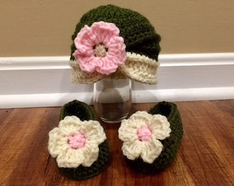 Flower Turban Hat and Slippers for Baby/ Baby Hat and Booties/Custom Colors Available!