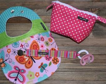 Pink Butterfly Baby Girl Bib, Pacifier Clip and Pacifier Pouch Gift Set, 6-12+ month gift