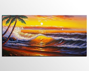 Sunset Palm Tree Painting, Landscape Painting, Abstract Art, Oil Painting, Wall Art, Canvas Painting, Abstract Painting, Large Canvas Art