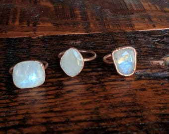 Moonstone ring. Electroformed copper moonstone ring
