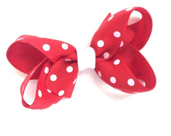 3 inch red polka dot hair bow - polka dot bow, girls hair bows, 3 inch bows, boutique bows, girls bows, toddler bows, hair bows, baby bows