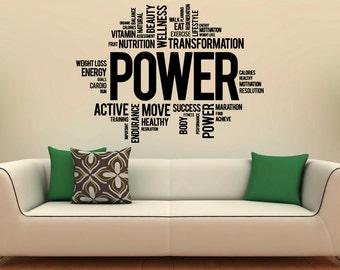 Fitness Motivation Wall Decal Vinyl Stickers Sport Gym Words Interior Home  Design Art Murals Wall Graphics