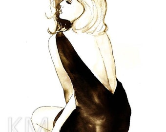 Fashion Illustration Watercolor Painting Print 'Seduction'- Home decor and wall art, Fashion prints