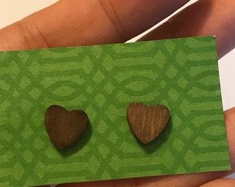 Boucles d'oreilles coeur Mini en bois