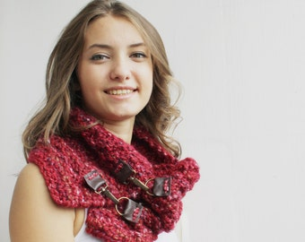 Red Scarf  Warm Knitted Scarf  Oversized, Chunky Knit, Winter , Cozy Scarf, Women's Gifts, For Her, Leather details