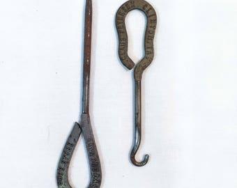 Set of 2 Antique Steel Button Hooks —Unique pattern