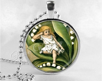LILY Of The VALLEY Pendant, Thumbelina, Lily of the Valley Necklace, Lily of the Valley, Glass Photo Art Pendant, Lily Flower Pendant