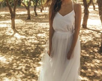 80s wedding dress / Bohemian style wedding dress / Open back wedding dress boho style / Bridal gown open back / Hibiscus mandala water