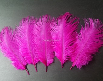 100 Pcs hot pink ostrich feather plume (20 to 25cm)