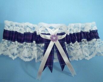 Pride of Scotland tartan bridal wedding garter diamante ivory or white