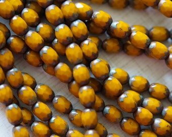 Picasso Czech Glass Beads - Mustard Faceted Ovals - Faceted Glass Beads - Opaque Yellow Beads - Fire Polished Beads - Bead Soup Beads