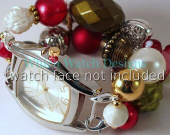 SALE Heirloom Holiday.. Festive Dark Red, Olive Green and Cream Chunky Interchangeable Beaded Watch Band