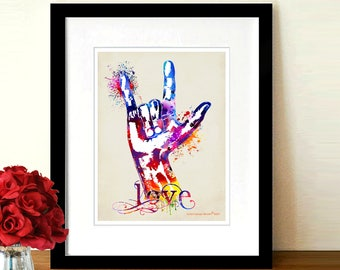"Fine Art Print - ""Watercolor Sign Language - Love "" 8.5"" x 11"", Hand Therapist gift, ASL art print, Deaf child's gift, Sign Language teacher"