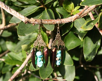 Earrings with Elytra beetle wings & Magnesite gemstone, handmade by me / with beetle wings, bronze Earrings