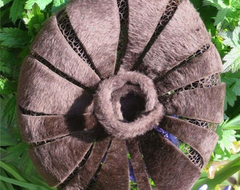 Vintage 1960's Fluffy Brown Cut Out Petal Hat