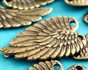 Sale Lead Free 7pcs Antique Bronze Angel Wing Pendants A19214-AB-FF