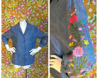 70s Vintage Embroidered Denim Top Smock Medium Large