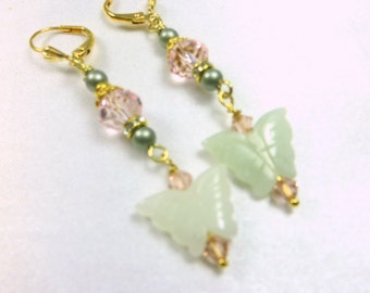 Pale Green Jade Butterflies, Antique Pink Crystals and Swarovski Powder Green Pearls on Gold  - Bridal or Everyday Earrings