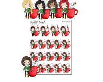 Planner Stickers Christmas Girl w/ Coffee/Cocoa