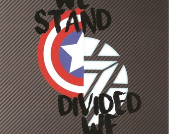 5x7 Art Print Marvel Captain America Civil War Iron Man United We Stand Divided We Fall Shield Arc Reactor Steve Rogers Tony Stark