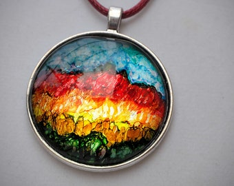 Cabochon, 4cm, painted with alcohol ink, silvery support(medium), waxed cotton cord