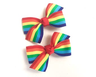 Adorable rainbow pigtail bows, rainbow bows, toddler hair bows, pigtail bows, rainbow hair bows, girls hair bows, girls bows, baby bows