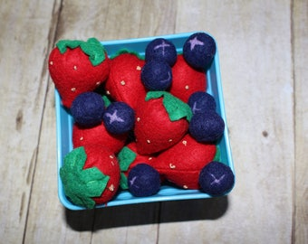 Felt strawberries and blueberries