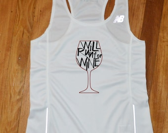 Will Run for Wine Running Jersey - Will Run for Wine Running Singlet - Will Run for Wine Running Tank Top
