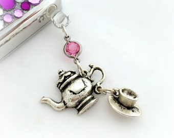Tea set phone plug charm, kawaii phone accessory