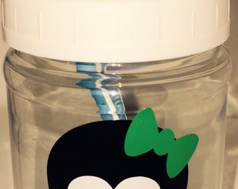 Personalized Plastic Mason Jar - Tooth - Flowers - Toothbrush Holder - Kids Toothbrush holder