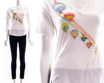 Authentic Vintage 70s Groovy Rainbow Hot Air Balloon V Neck White Tee Vintage Rainbow T-Shirt Split Seams Hipster Button Up XS S M
