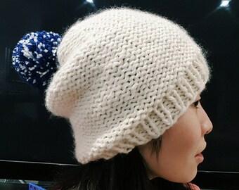 READY TO SHIP-Slouchy Beanie with Pom Pom - Blue white yarn Pom Pom - Knit Pom Pom hat - Knit Beanie - Winter hat