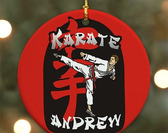 Personalized Karate Ornament (Male version) - Personalized with Name