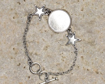 Bracelet holder round cabochon 20 mm star