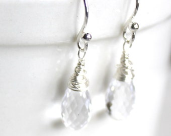 princess / cubic zirconia teardrop earrings /  clear faceted sparkling earrings FREE SHIPPING valentines gift / sterling wrapped gift