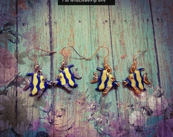 Hand painted fish earrings, animal jewelry, sea life earrings, fish jewelry