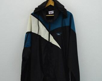 Reebok Windbreaker Black Zip Up Lightweight Nylon Men X Large Vintage Windbreaker Hooded Jacket