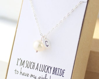 Pearl Silver Charm Necklace - Pearl Bridesmaid Necklace - Pearl Necklace - Personalized Pearl Necklace - Wedding Jewelry - Bridal Party
