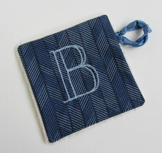 Baby Crinkle Toy ~Personalized Custom Hand Embroidered Initial ~ Sensory Toy ~ Baby Teething Toy ~ Baby Noise Toy ~ Navy Blue Herringbone