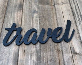 travel sign, adventure sign, wood words, word sign, wood sign, laser cut sign, explore sign, wall hanging, custom word, script word