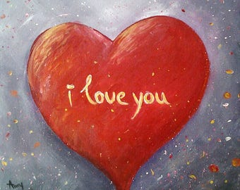 Colourful Art,Abstract,Modern,Wall Art,I love you,Love for ever,LOVE,ORIGINAL,Canvas Painting *Red Heart*