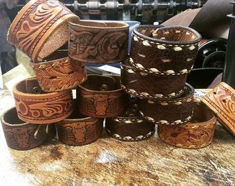 Tooled Leather Cuff Bracelets